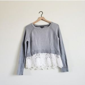 American Eagle Grey Lace Cropped Crewneck Sweater